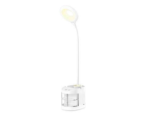 Настольная светодиодная лампа со встроенной аккумулятороной батареей и органайзером DE561 WH белый LED 4200K 4W