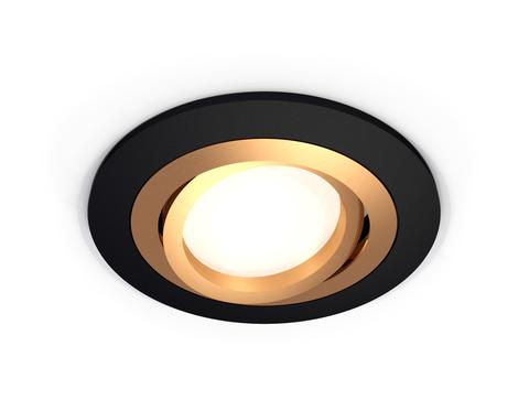 Комплект встраиваемого поворотного светильника XC7622083 SBK/PYG черный песок/золото желтое полированное MR16 GU5.3 (C7622, N7004)