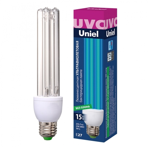 ESL-PLD-15/UVCB/E27/CL Лампа ультрафиолетовая бактерицидная. Спектр UVC 253,7нм. Картон. ТМ Uniel