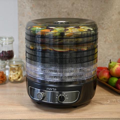 Сушилка для фруктов, овощей MARTA MFD-8083PS черный жемчуг 11 поддонов 8+3 (пастила)