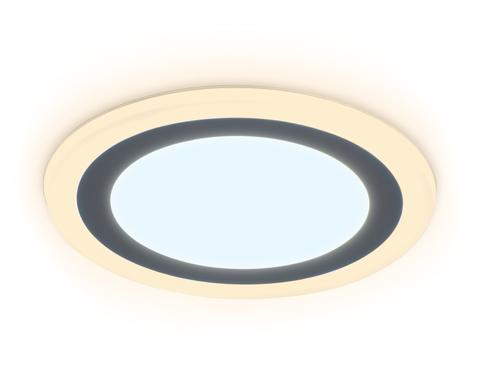 Встраиваемый cветодиодный светильник с подсветкой DCR376 12W+4W 6400K/3000K 85-265V D195*28