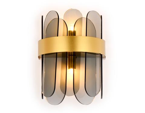 Настенный светильник с хрусталем TR5348/2 GD/SM золото/дымчатый G9/2 max 40W 270*200*140
