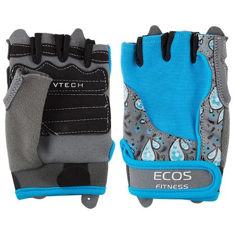Перчатки для фитнеса, женские, цвет -голубой с принтом, размер: S, модель: SB-16-1735