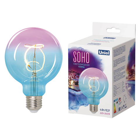 LED-SF01-4W/SOHO/E27/CW BLUE/WINE GLS77TR Лампа светодиодная SOHO. Синяя/винная колба. Спиральный филамент. Картон. ТМ Uniel