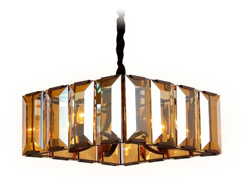 Подвесная люстра с хрусталем TR5150 CF/TI кофе/янтарь E14/6 max 40W 500*500*1000