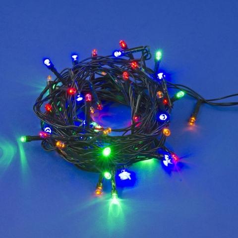 ULD-S0500-050/DGA MULTI IP20 Гирлянда светодиодная, 5м. 50 светодиодов. Разноцветный свет. Провод зеленый. ТМ Uniel
