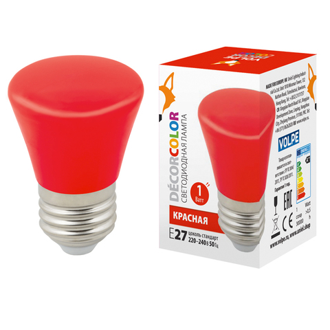 LED-D45-1W/RED/E27/FR/С BELL Лампа декоративная светодиодная. Форма