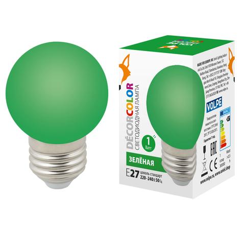 LED-G45-1W/GREEN/E27/FR/С Лампа декоративная светодиодная. Форма
