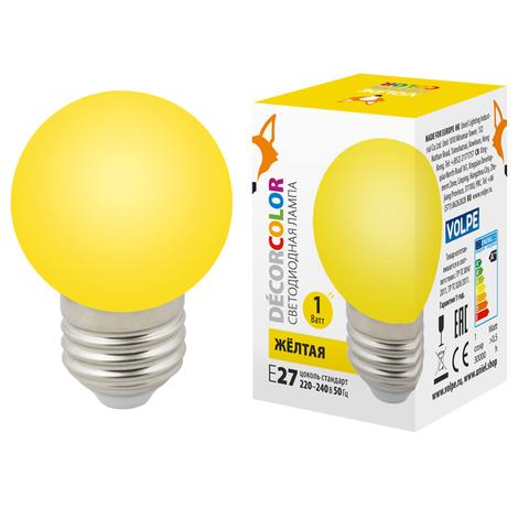LED-G45-1W/YELLOW/E27/FR/С Лампа декоративная светодиодная. Форма