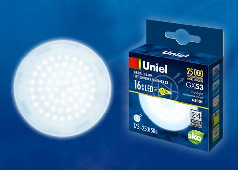 LED-GX53-16W/6500K/GX53/FR PLZ01WH Лампа светодиодная, матовая. Дневной свет (6500K). Картон. ТМ Uniel.