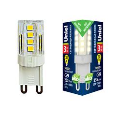 LED-JCD-3W/3000K/G9/CL GLZ09TR Лампа светодиодная, прозрачная. Теплый белый свет (3000К). Картон. ТМ Uniel.