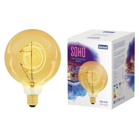 LED-SF02-5W/SOHO/E27/CW GOLDEN GLS77GO Лампа светодиодная SOHO. Золотистая колба. Филамент в форме месяца. Картон. ТМ Uniel