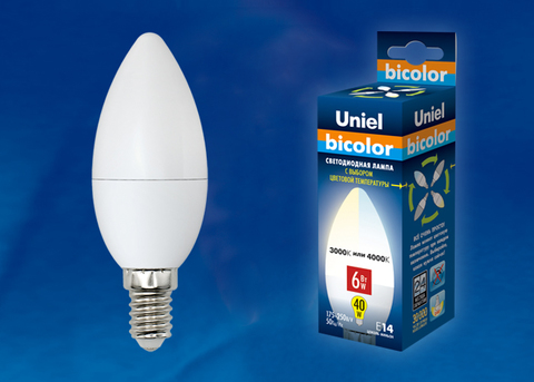 LED-C37-6W/WW+NW/E14/FR PLB01WH Лампа светодиодная. Форма «свеча», матовая. Серия Bicolor. Теплый белый свет - Белый свет. Картон. ТМ Uniel.