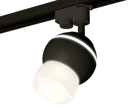 Комплект трекового однофазного светильника с подсветкой XT1102074 SBK/FR черный песок/белый матовый MR16 GU5.3 LED 3W 4200K (A2521, C1102, N7177)