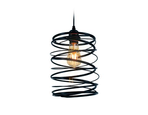 Подвесной светильник TR8401 BK черный E27 max 60W D190*1000