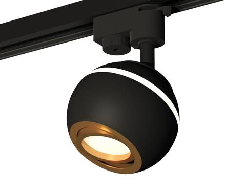 Комплект трекового однофазного светильника с подсветкой XT1102023 SBK/PYG черный песок/золото желтое полированное MR16 GU5.3 LED 3W 4200K (A2521, C1102, N7004)