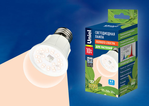 LED-A60-10W/SPFR/E27/CL PLP01WH Лампа светодиодная для растений. Форма