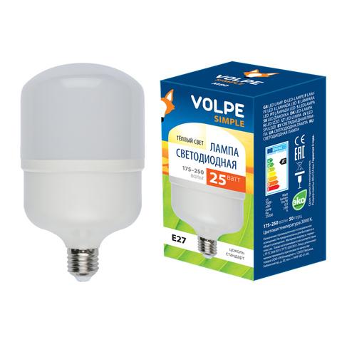 LED-M80-25W/WW/E27/FR/S Лампа светодиодная с матовым рассеивателем. Материал корпуса термопластик. Цвет свечения теплый белый. Серия Simple. Упаковка картон. ТМ Volpe