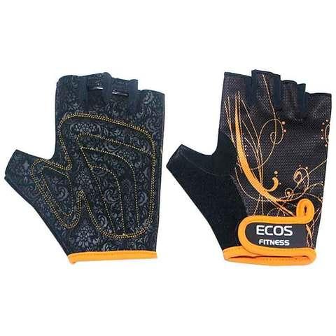 Перчатки для фитнеса, женские, цвет -черные с принтом, размер: L, модель: SB-16-1743