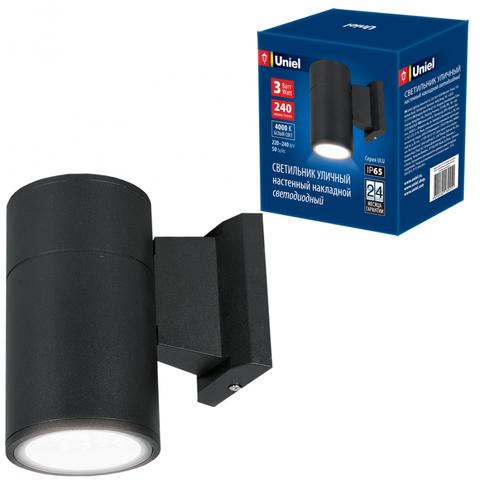 ULU-S21A-3W/4000K IP65 BLACK Светильник светодиодный уличный. Архитектурный накладной. Белый свет (4000K). Корпус черный. TM Uniel.