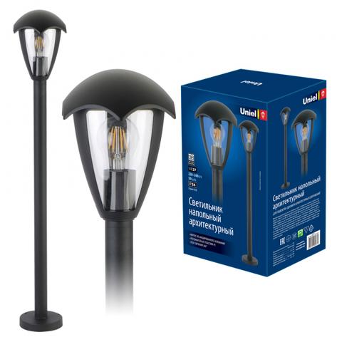 UUL-T80A 60W/E27 IP54 BLACK Светильник уличный, под лампу Е27. Архитектурный напольный. Корпус серый. TM Uniel.