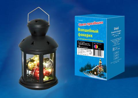 ULD-L1220-010/DTB/RGB BLACK Фонарь со светодиодной гирляндой внутри, на батарейке (в комплект не входит). 10 светодиодов. RGB свет. Режим мигания. Черный корпус. 12*20 см. TM Uniel.