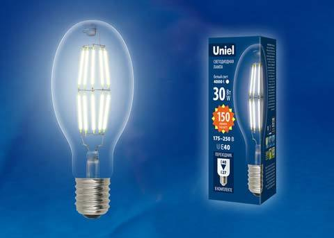 LED-ED90-30W/DW/E40/CL GLP05TR Лампа светодиодная, прозрачная. Дневной белый свет (6500K). Картон. ТМ Uniel
