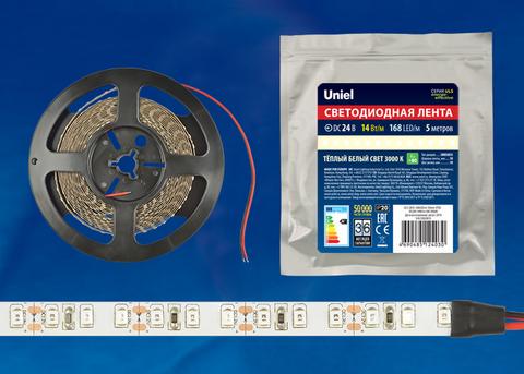 ULS-2835-168LED/m-10mm-IP20-DC24V-14W/m-5M-3000K Гибкая светодиодная лента на самоклеящейся основе. Катушка 5 м. в герметичной упаковке. Белый свет (3000K). ТМ Uniel.