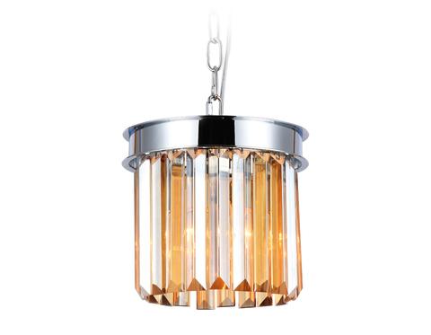 Подвесной светильник с хрусталем TR5102 CH/TI хром/янтарь E14 max 40W D200*575