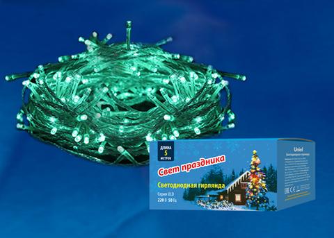 ULD-S0500-050/DTA GREEN IP20 Гирлянда светодиодная с контроллером, 5м. 50 светодиодов. Зеленый свет. Провод прозрачный. ТМ Uniel
