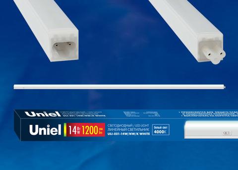 ULI-E01-14W/NW/K WHITE Светильник линейный светодиодный (аналог T5), c выключателем. Белый свет (4000K). 1200Лм. Корпус белый. ТМ UNIEL.