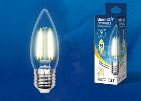 LED-C35-9W/3000K/E27/CL/DIM GLA01TR Лампа светодиодная диммируемая. Форма
