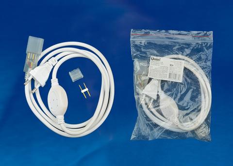 UCX-SP2/N21 WHITE 1 STICKER Провод электрический для светодиодных лент ULS-N21 NEON 220В, 8x16мм, 2 контакта. Цвет белый. TM Uniel.