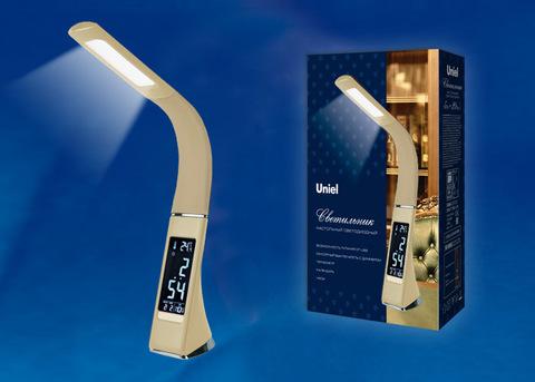 TLD-542 Cream/LED/300Lm/5000K/Dimmer Светильник настольный c часами, календарем, термометром, 5W. Сенсорный выключатель. Кремовый (стилизован под кожу). TM Uniel.