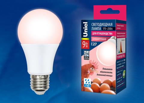 LED-A60-9W/SCEP/E27/FR/DIM IP65 PLO65WH Лампа светодиодная диммируемая для птиц. Спектр для яйценоскости. TM Uniel.