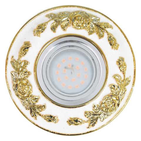 DLS-A105 GU5.3 CHROME/WHITE+GOLD Светильник декоративный встраиваемый, серия Arno. Без лампы, цоколь GU5.3. Металл/полимер. Хром/белый+золото. ТМ Fametto