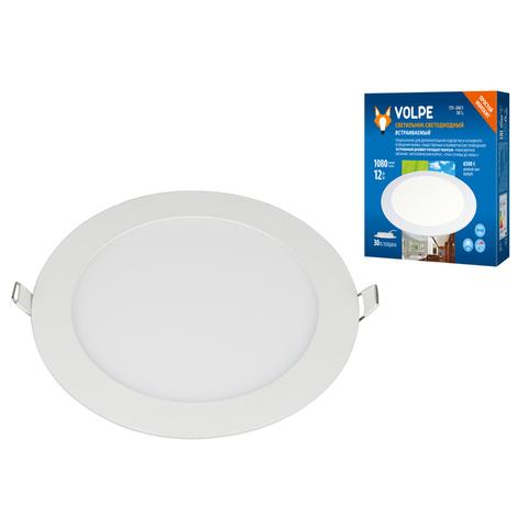 ULM-Q236 12W/6500K WHITE Светильник светодиодный встраиваемый. Дневной свет (6500К). Корпус белый. ТМ Volpe.