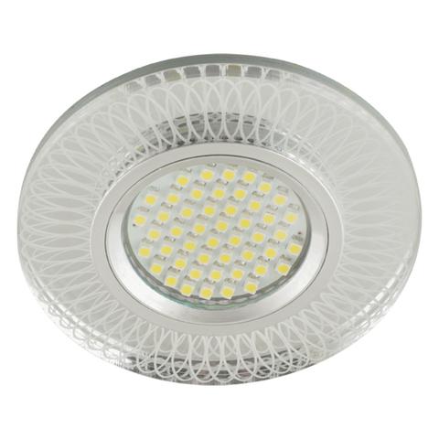 DLS-L152 GU5.3 GLASSY/CLEAR 3D Светильник декоративный встраиваемый, серия Luciole. Без лампы, цоколь GU5.3. Доп. светодиодная подсветка 3Вт. Металл/стекло. Зеркальный/Прозрачный, эффект 3D. ТМ Fametto