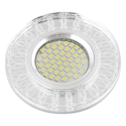 DLS-L154 GU5.3 GLASSY/CLEAR 3D Светильник декоративный встраиваемый, серия Luciole. Без лампы, цоколь GU5.3. Доп. светодиодная подсветка 3Вт. Металл/стекло. Зеркальный/Прозрачный, эффект 3D. ТМ Fametto