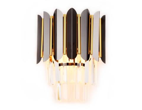 Настенный светильник с хрусталем TR5299/2 DCH/GD черный хром/золото E14/2 max 40W 300*250*140