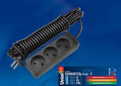 S-CD3-5 BLACK Удлинитель серии Standart, шнур 5м., 3 гнезда, б/з. Черный. TM Uniel.