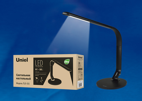 TLD-555 Black/LED/500Lm/5500K/Dimmer/USB Светильник настольный, 8W. Сенсорный выключатель. Черный. ТМ Uniel