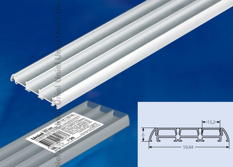 UFE-A08 SILVER 200 POLYBAG Накладной профиль для светодиодной ленты, анодированный алюминий. Длина 200 см. ТМ Uniel.