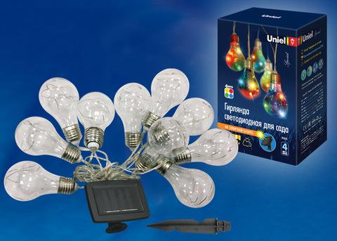 USL-S-126/PT4000 BULBS Садовая гирлянда  на солнечной батарее «Лампочки». 10 светодиодов. Разноцветный свет. 1*АA Ni-Mh аккумулятор в/к. IP44. TM Uniel.