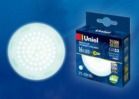 LED-GX53-16W/NW/GX53/FR PLZ01WH Лампа светодиодная, матовая. Белый свет (4000K). Картон. ТМ Uniel