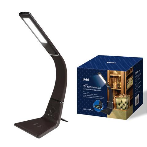 TLD-565 Brown/LED/360Lm/3000-6000K/Dimmer/WR Светильник настольный, 12W. Сенсорный выключатель. Диммер. Беспроводное зарядное устройство. Коричневый. ТМ Uniel