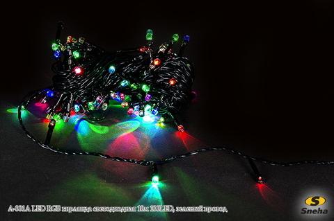 A-001A LED RGB гирлянда светодиодная 10м 100LED, зеленый провод