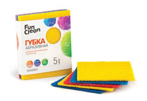 Губка для удаления сверхстойких загрязнений Fun Clean абразивная, 5шт.
