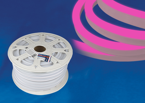 ULS-N21-2835-120LED/m-8mm-IP67-220V-8W/m-50M-PINK Светодиодная гибкая герметичная лента. NEON. Бобина 50 м. Розовый свет. TM Uniel.