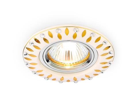 Встраиваемый потолочный точечный светильник D5533 W/GD белый золотой узор